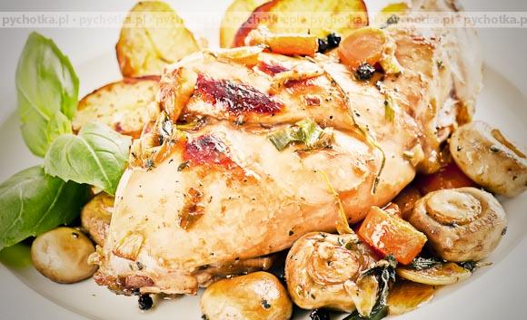 Kurczak Pieczony Z Ziemniakami I Pieczarkami